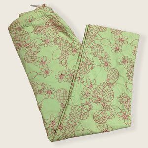 Lilly Pulitzer Embroidered Green Pineapple Pants 0